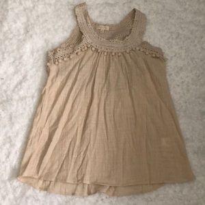 Adiva beige lace tank top size size S